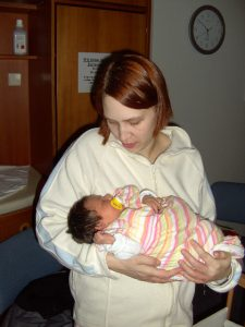Nadine und ihre kleine Tochter