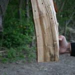 Der Holzklotz ist ein Insektenhotel. Selbstgebaut!