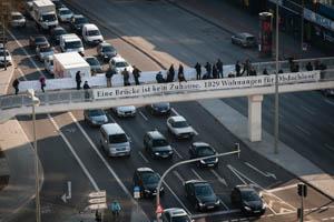 Die Protestaktion von oben