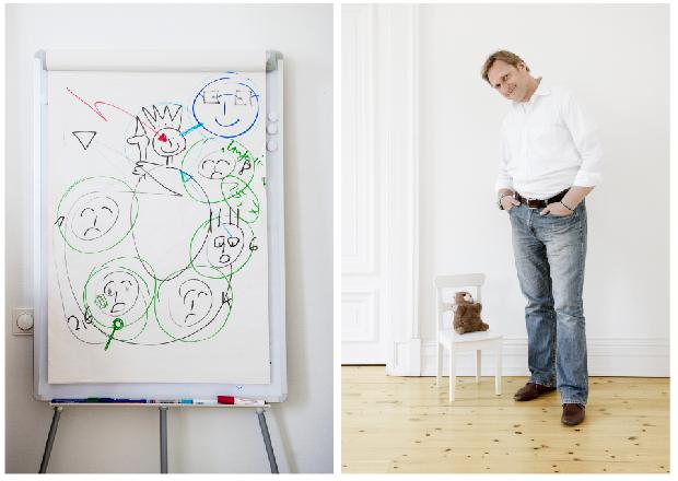 """Dr. Andreas Krüger will, dass seine Patienten """"Experten für ihre Not werden"""". Deshalb erklärt er ihnen immer genau, was in ihrem Kopf passiert, wenn die SEELE krank ist. Genauso wichtig: dass Kinder malen, schreiben, Musik machen, damit sie besser an ihre Gefühle herankommen."""