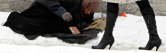 Ukraine, wo mindestens 85.000 obdachlose hilfe brauchen. doch die