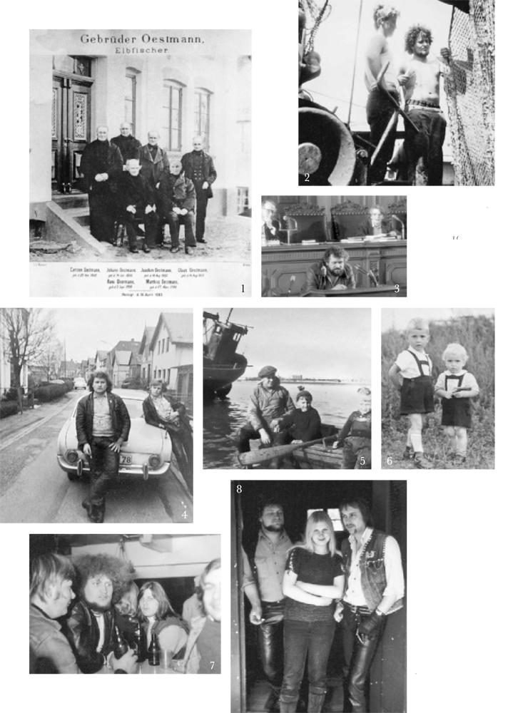 1 Schon Heinz Oestmanns Vorfahren waren Elbfischer. Ein Bild aus dem Jahr 1883 mit dem damals schon toten Mathias. 2 Netzflicken auf der Nordstern. 3 Kurzes Intermezzo: Oestmann als Bürgerschaftsabgeordneter. 4 Der Rocker von Altenwerder mit einem Freund.   5 Boot fahren, das war für die Kinder das Größte. Heinz mit Mütze, Vater und kleinem Bruder. 6 Selten, aber immerhin: Heinz konnte sich auch wohlerzogen geben,  neben ihm wieder sein kleiner Bruder. 7 Heinz mit anderen wilden Kerlen. 8 Mit Renate wurde alles anders: Der Frauenheld, der vorher nichts anbrennen ließ und nie länger als zwei Wochen mit demselben Mädchen zusammen war, heiratete die hübsche Blonde. 27 Jahre waren die beiden zusammen, bis zu ihrem Tod im Jahr 2000.