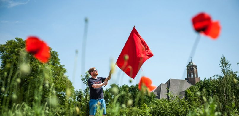 Bereits für unsere Juli-Ausgabe markierte Redakteur Jonas Füllner zahlreiche Freiflächen mit einer roten FAHNE - unter anderem auch die Brachfläche an der Glacischaussee.  Foto: Dmitrij Leltschuk