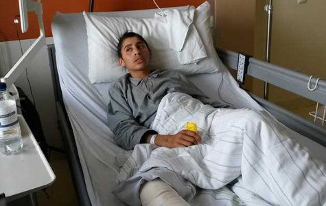 Der junge Obdachlose Niculaie L. ein paar Tage nach dem brutalen Angriff im Krankenhaus Wandsbek.