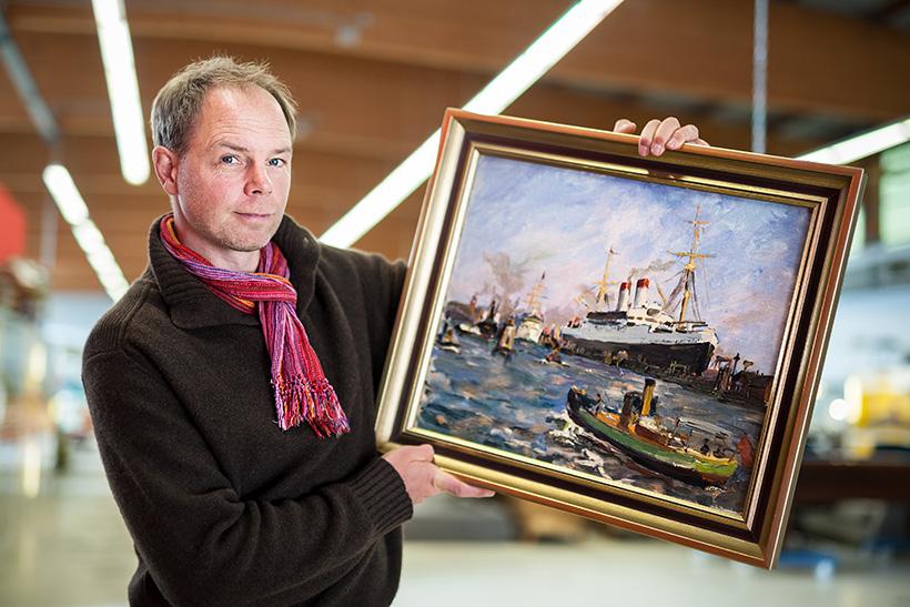 Demnächst zu haben: ein ÖLGEMÄLDE, das Christoph Thiedig bei Lauritz für Hinz&Kunzt versteigern lassen möchte. Foto: MAuricio Bustamante.